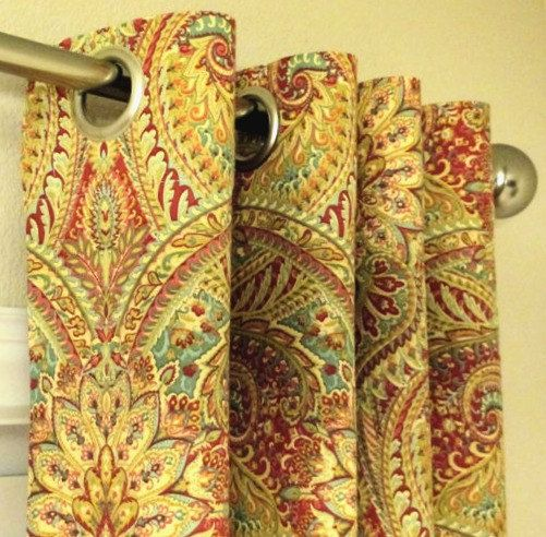 Waverly Paisley Swept Away Berry Curtains Grommet 63 72 84 90 96 108 120 Long x 25 or 50 Wide