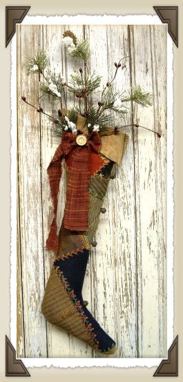 primitive stocking saw one like this with an old ice skate and it was really cute