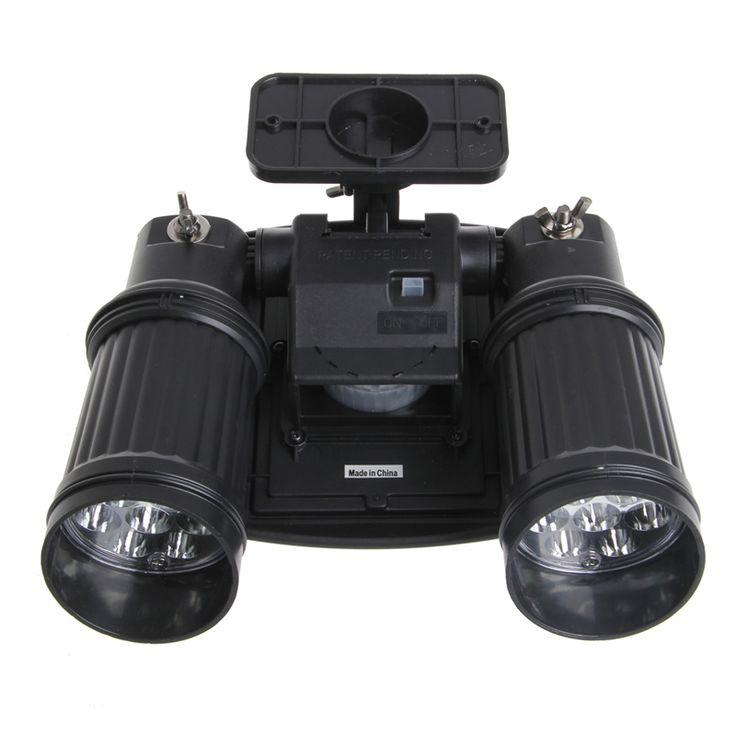 14leds led solar lamp pir motion sensor dual head spotlight adjustable waterproof wall light for yard