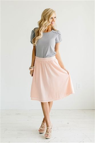Peach Pink Skirt Modest Skirt, Spring Dresses, Church Dresses, dresses for church, modest bridesmaids dresses, trendy modest dresses, modest womens clothing, affordable boutique dresses, cute modest dresses, mikarose, modest bridesmaids dresses