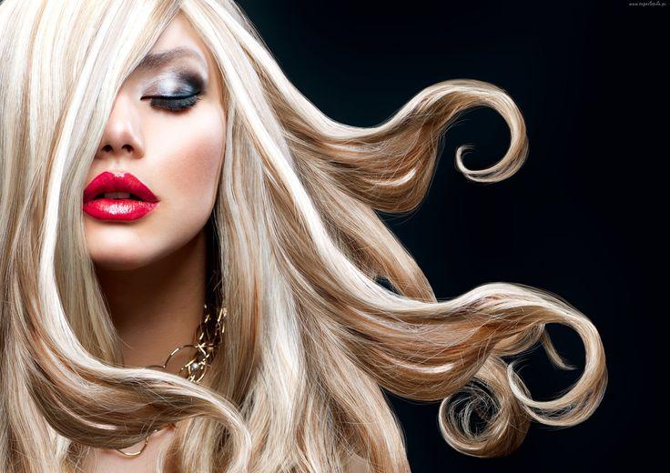 Kobieta, Blondynka, Makijaż, Czerwone Usta, Anna Subbotina