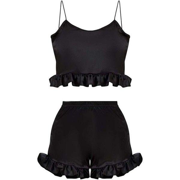 Black Satin Ruffle Detail PJ Set ($36) ❤ liked on Polyvore featuring intimates, sleepwear, pajamas, satin pajama set, satin pyjamas, satin sleepwear, satin pajamas and satin pjs
