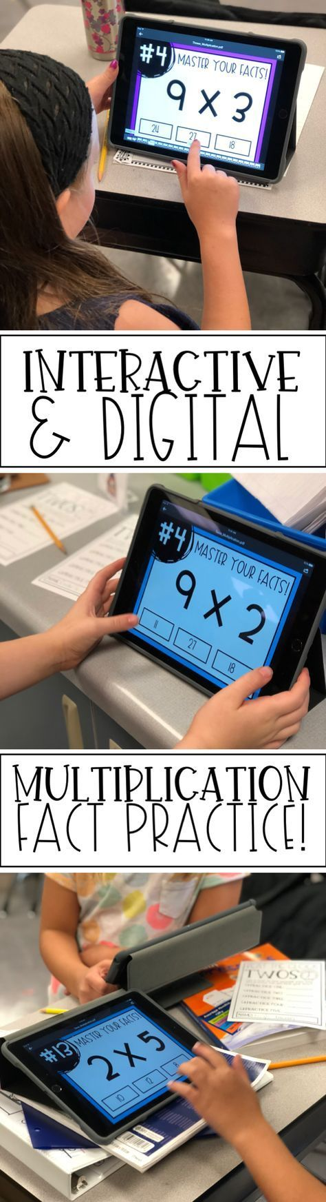 Engaging and easy multiplication fact practice! Just upload onto your device and students can use it to practice independently or in center/station rotations! #mathpracticegames