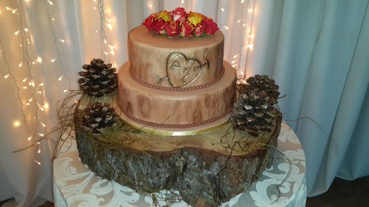 Autumn wedding -  Wood Wedding cake