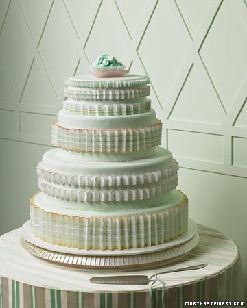 Pleated Wedding Cake  The edible pleats here recall the crinolines beneath a cream puff of a wedding dress. White wafer papers, cut with scallop scissors and folded, were painted with gold luster dust and petal dust in pinks and greens. They were then piped with white royal icing and attached to the mint-green fondant-covered tiers with more royal icing. The fluted pastry cups, filled with pillow mints, complete the pleated theme.