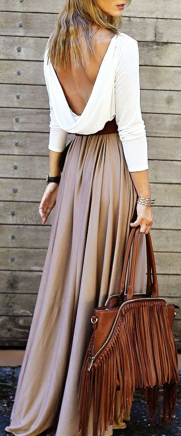 Draped back top + maxi skirt.