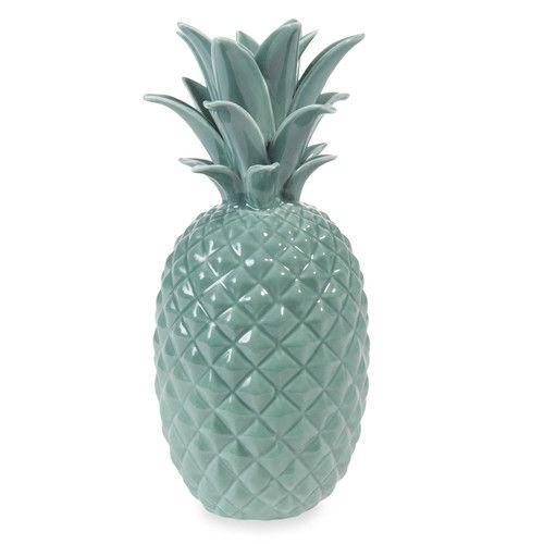 Statuette ananas en céramique verte H 24 cm JUNGLE