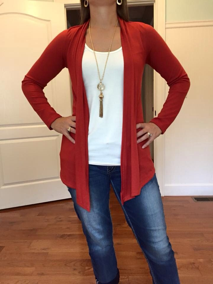 Love this burnt orange color for fall! 41Hawthorn Abrienne Cardigan (medium) #FixedOnFall