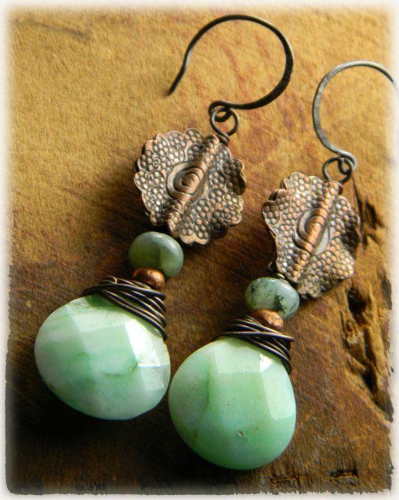 Green Chrysoprase Drop Earrrings Copper Rustic by ChrysalisToo, $47.00