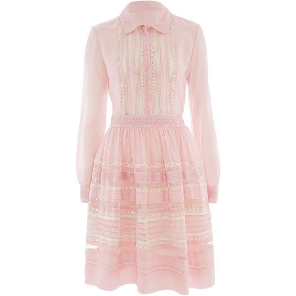 Temperley London Waterfall Shirt Dress ($375) ❤ liked on Polyvore featuring dresses, pale pink, shirt-dress, long sleeve summer dresses, pale pink dress, summer dresses and collared shirt dress