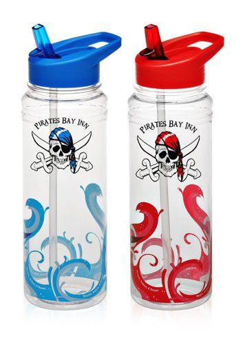 Logo #PG118 26 oz. Clear Wave Plastic Wholesale Water Bottles