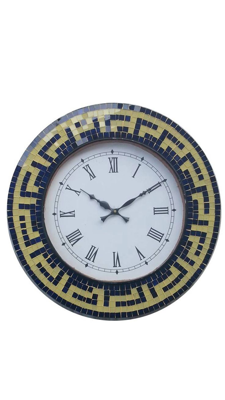 Blue And Yellow Mosaic Wall Clock Online at Low Prices in India