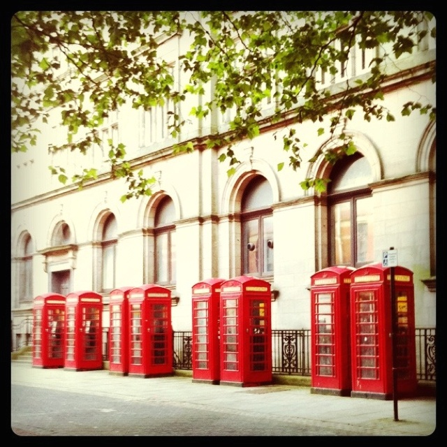 Red telephone boxes in Preston, Lancashire