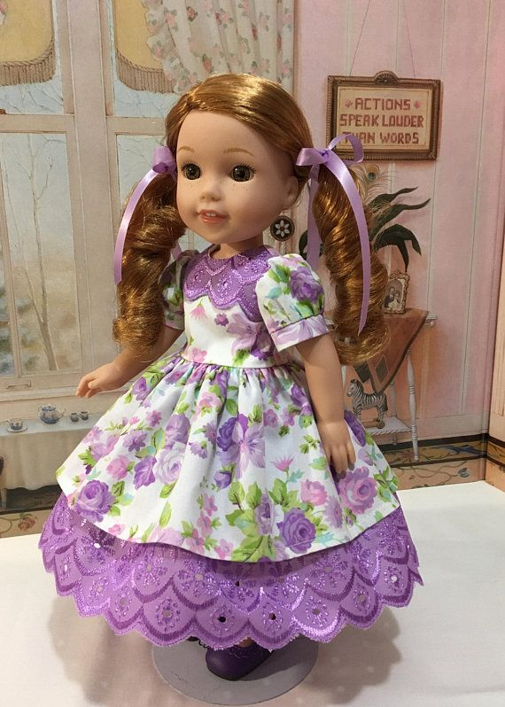 "Spring ""Lovely in Lavender"" dress, slip, shoes, ribbons that fit 14 inch dolls like Willa by  American girl or similiar sized 14 inch dolls"