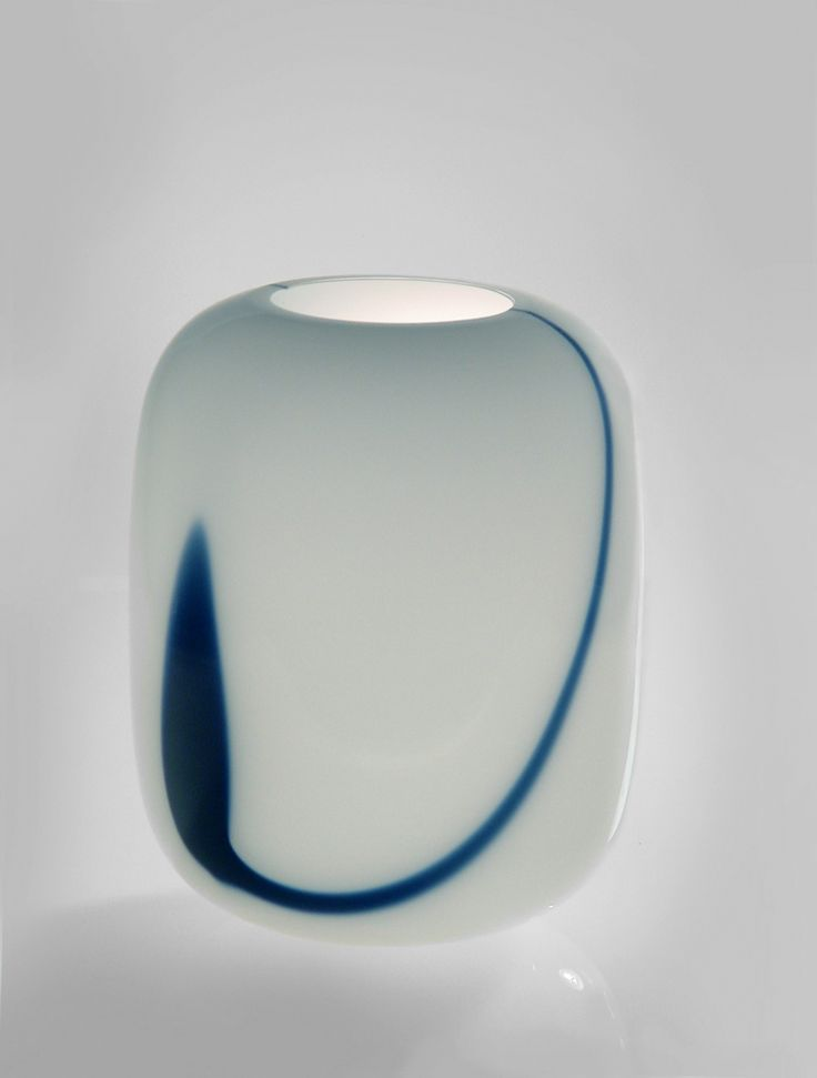 "Large Vase ""Blues"" Timo Sarpaneva blue and white opal, turned-mold blown, base cut Iittala, Finland, 1985 32 x 24cm d 900"