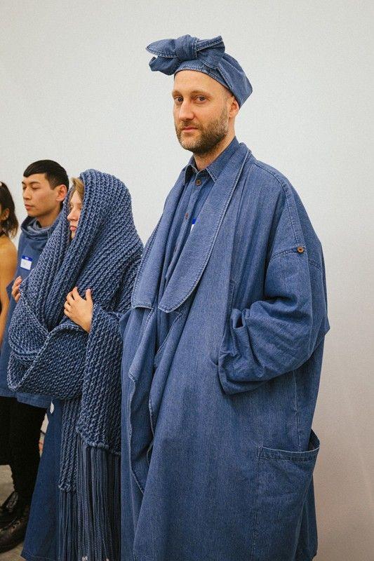 Denim turban and overcoat at 69 Worldwide AW15 NYFW. See more here: http://www.dazeddigital.com/fashion/article/23708/1/69-worldwide-aw15