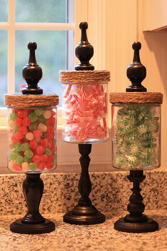 christmas apothecary jars...tutorial from shanty 2 chic. can also fill with candy corn for halloween and thanksgiving, easter eggs for easter...the list goes on an on!