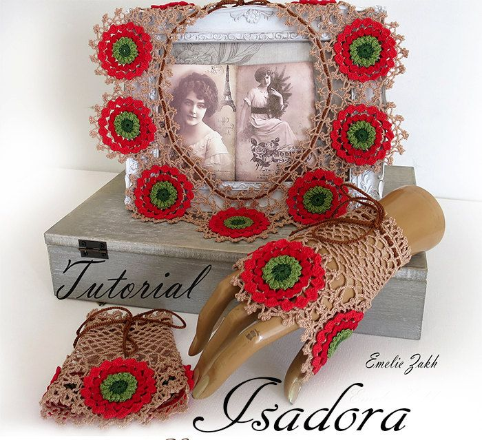 Isadora.Pattern crochet boho lace collar and bracelet cuff.Tutorial PDF file instructions crochet.Multicollor crochet jewelry collar,mitts.