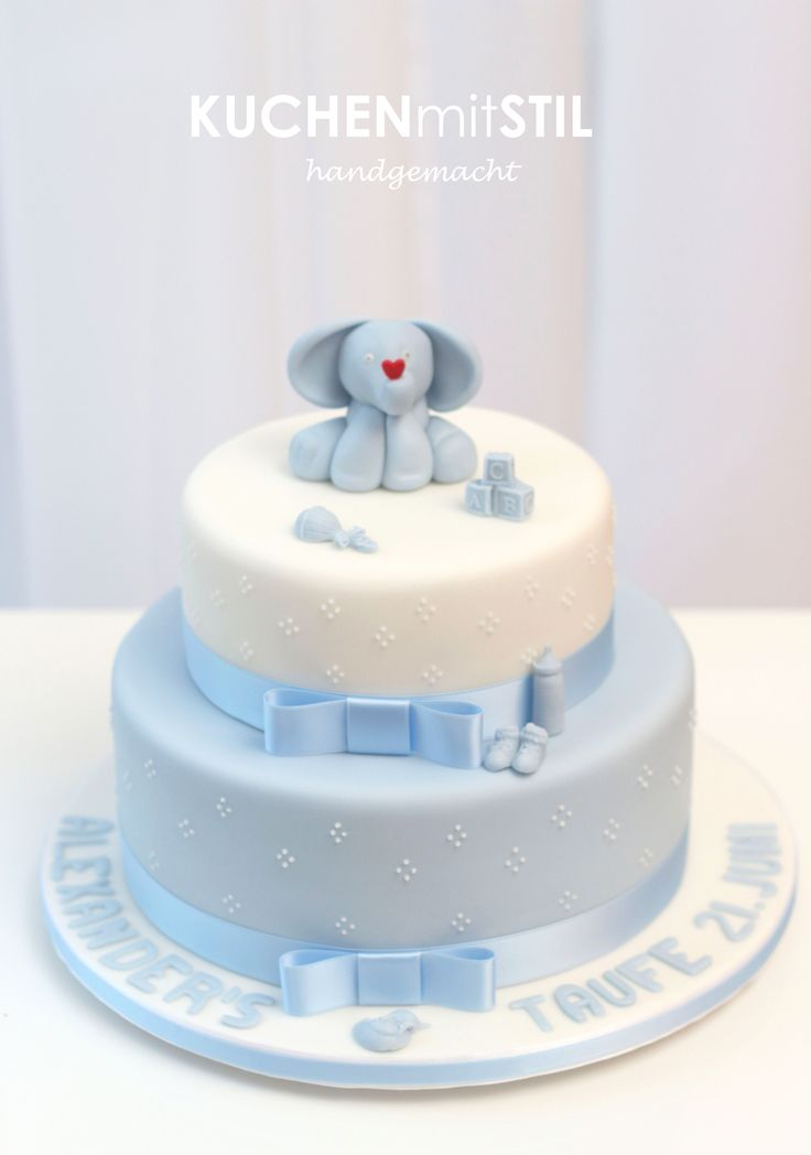 www.KUCHENmitSTIL.at - The finest Pastry - Christening Cake Baptism Cake cute little Elephant Cake Tauftorte