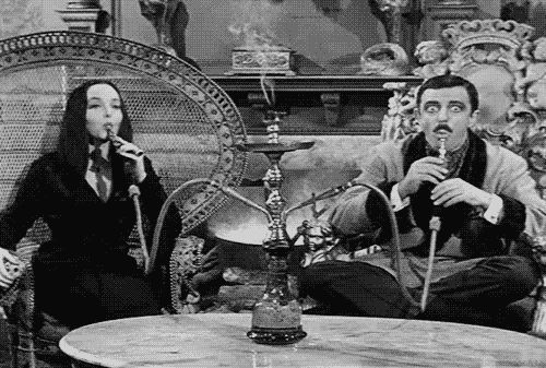 Morticia and Gomez smooking sheesha.