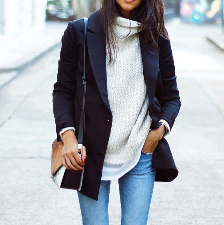 Love the silk top under the knit sweater/ turtle neck