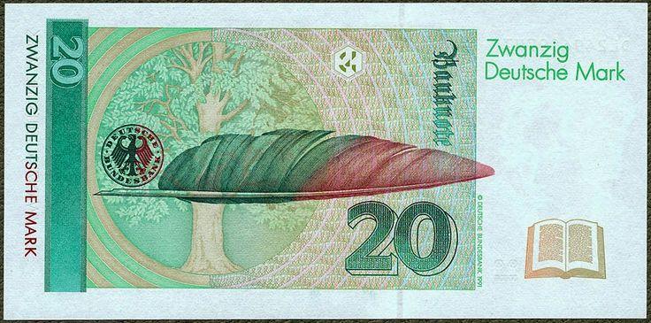 German banknotes 20 DM Deutsche Mark banknote, Deutsche Bundesbank 1993