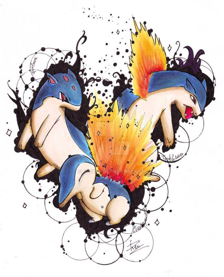 Cindaquil Quilava Typhlosion - Pokemon by eREIina.deviantart.com on @DeviantArt