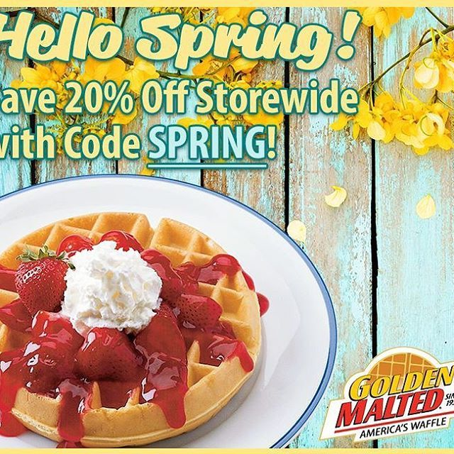 Happy 1st Day of Spring!! Celebrate the new season with #GoldenMalted and save 20% off #storewide - just use promo code SPRING -  link in bio! #sale #spring #waffles #pancakes