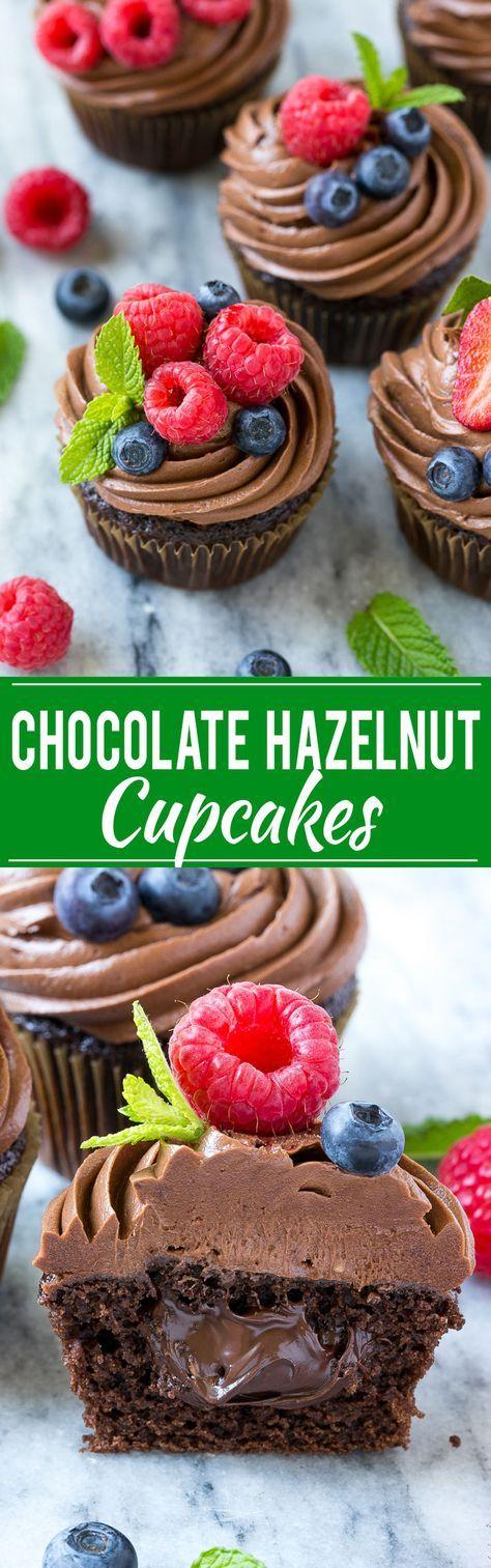 """Chocolate hazelnut cupcakes!!!! YUM!! """"Chocolate cupcakes filled with milk chocolate hazelnut spread, then finished off with chocolate hazelnut frosting and fresh berries!!!"""" #chocolate #cupcakes"""