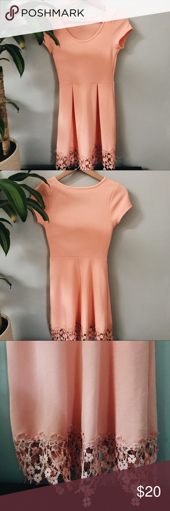 Salmon Dress with Lace details Salmon colored dress with flower lace details on the bottom, worn once. Forever 21 Dresses Midi