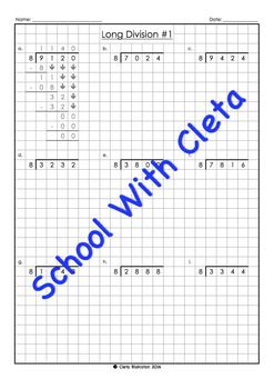 These worksheets are part of a series designed for kids as an introduction to long division worksheets using specific times tables (i.e. 8), which is great for children who may not be confident in knowing all their times tables.Plus the boxes / graph paper helps them reinforce keeping their working out organised and numbers in the correct place value column.Each dividend is 4 digits long and the answers (i.e.