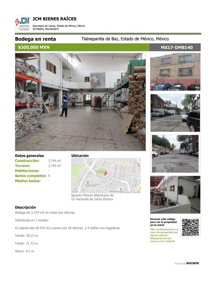 MX17-DM8140 Bodega en renta en la calle Ignacio Manuel Altamirano, Ex Hacienda De Santa Monica, Tlalnepantla, Estado de México, Mexico. $300,000. ¡Llamanos! (55) 53740834