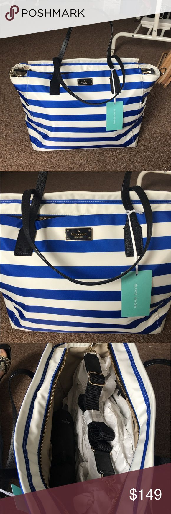 Kate Spade Baby Diaper Bag Brand new with tags & paper inside, blue and white Kate Spade diaper bag. It's huge for multiple items! Great purchase! kate spade Bags Baby Bags