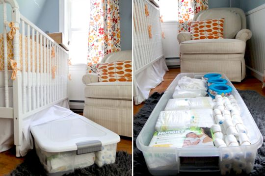 My Small Home: Lauren's Small Space Solutions | Problem: A tiny nursery with no closet - My Solution: Find creative places for storage