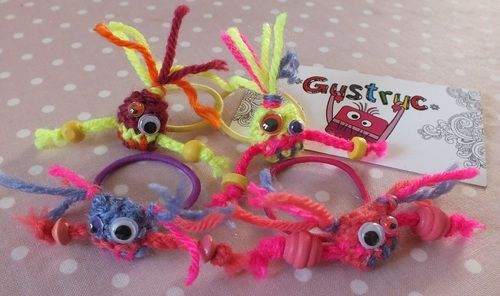 4 Gustruc minis avec élastique à cheveux pour fillette rose, mauve, jaune super flash