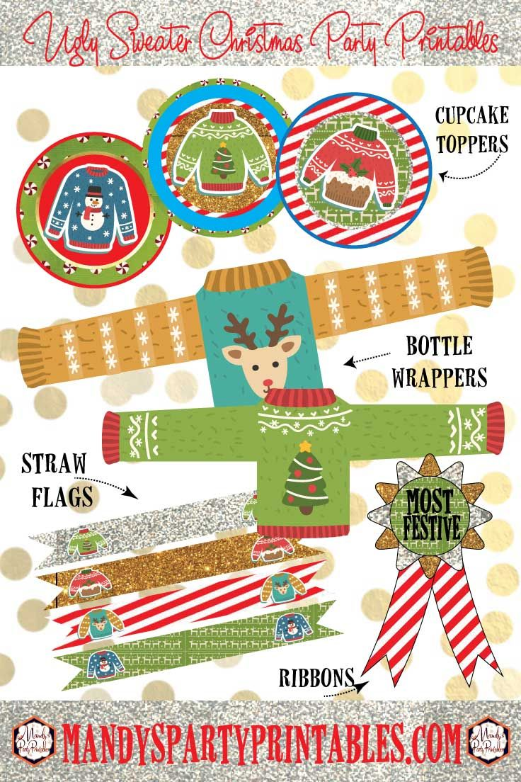 Planning an Ugly Sweater Party? Mandy's Party Printables has ugly sweater invites, ugly sweater prize ribbons, and more printables for your Christmas party!
