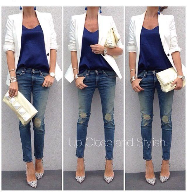 white blazer blue shirt