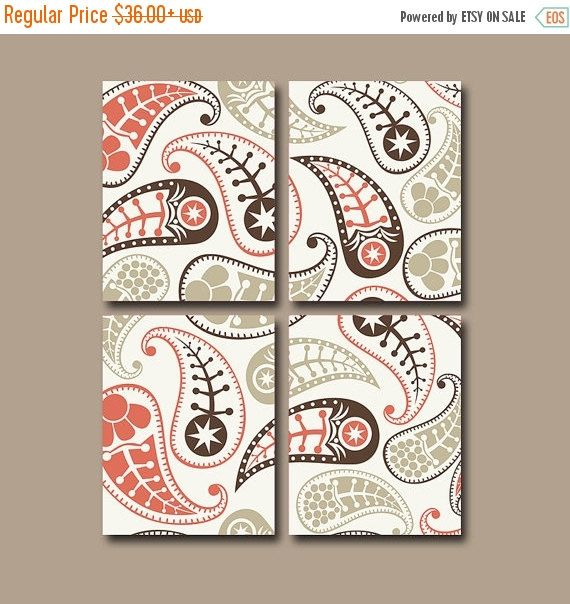 PAISLEY Wall Art, Bedroom Pictures, Canvas or Prints Pottery Bathroom Bathroom Artwork, PAISLEY Bedroom Art Set of 4 Home Home Decor