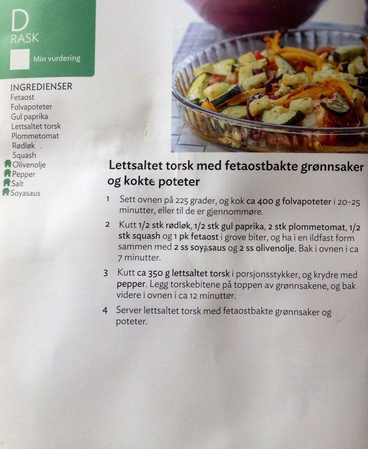 Lettsaltet torsk med fetabakte grønnsaker og kokte poteter.