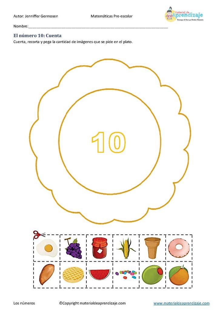 Fichas de aprendizaje de los números del 1 al 10 para preescolares.