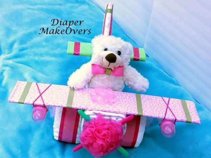 Baby Girl Diaper Cake - Airplane Diaper Cake - Unique Diaper Cakes - Unique Baby Shower Gift - Baby Shower Centerpiece by DiaperMakeOvers on Etsy