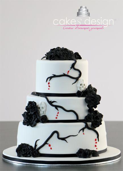 Wedding cake tête de mort noir et blanc