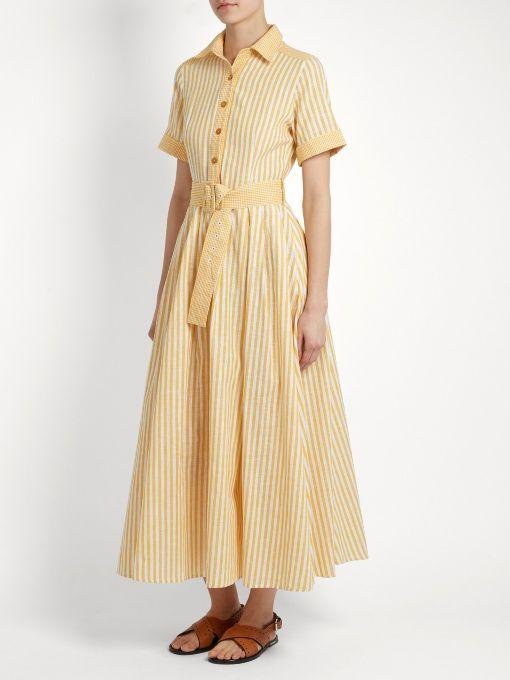 Gül Hürgel Striped cotton and linen-blend shirtdress