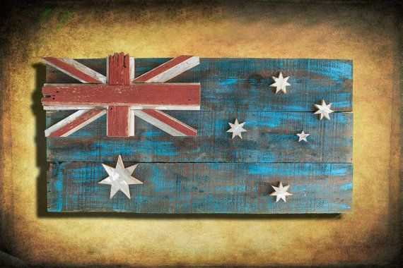 Wweathered old barn wood, hand painted, distressed Australian flag wall hanging art