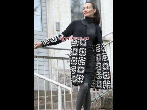 Кардиган из квадратных мотивов. Часть1. Бабушкин квадрат.  Knitting women's cardigan. - YouTube