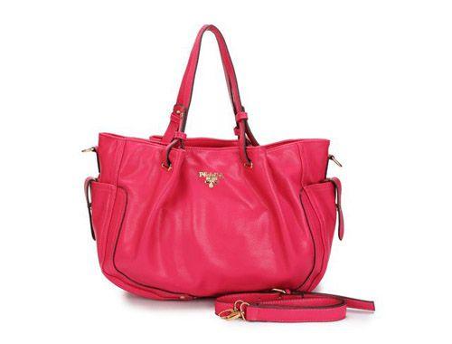 Prada Buckle Straps Handles Leather Tote Bag DeepPink [Prada-0029] - $89.00 : Prada Outlet Online USA | Prada Handbags,Shoes,Sunglasses