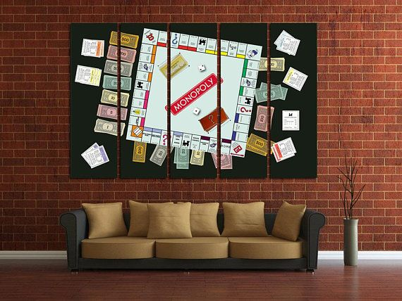 Monopoly Wall Art Game Room Decor Monopoly Canvas Office Etsy