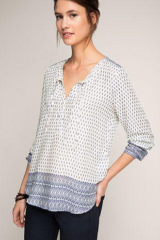Esprit mønstrede bluser med lange ærmer til damer i Esprits Online-Shop