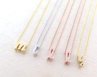 Initial Charm Necklace / Tiny Lowercase Charm Initials / Sleek Charm/ Good for Bridesmaid, Birthday, Love & for all Meaningful Gift