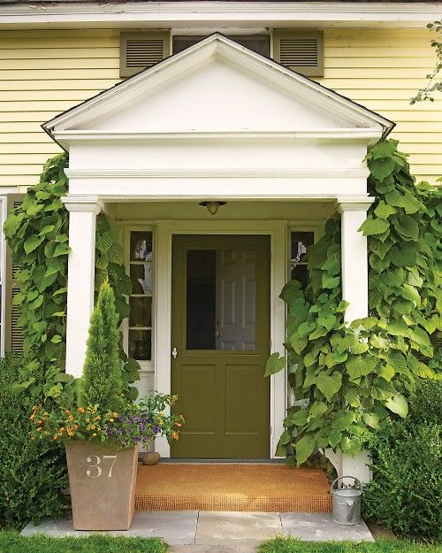 Painted number on flower pot/screen door: Idea, Housenumbers, Front Doors, Curb Appeal, House Numbers, Garden